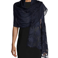 Valentino Voile Stole with Rose Lace
