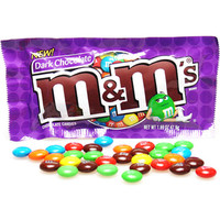 Dark Chocolate M&M's Candy Packets - Plain: 24-Piece Box