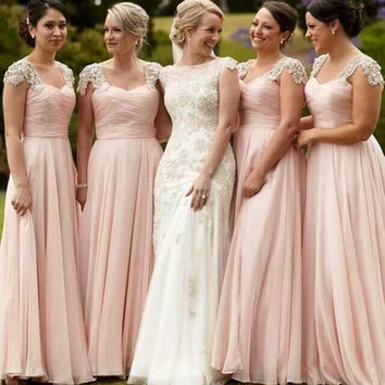 Elegant Sweetheart Pleat Long Bridesmaid Dress Lace Beading Chiffon Floor Length Prom Formal Party Wedding Gowns Dresses Vestido