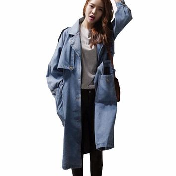 Women Denim Windbreaker New 2016 Spring Autumn Fashion Women Jackets Coats Loose Long Jeans Jacket Female Casual Outwear G457