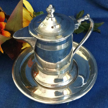 Small Silver Plated Creamer with Underplate, Wallace Bro's Silver Co