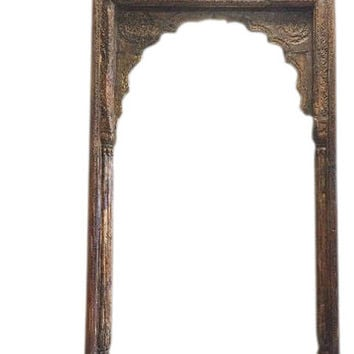 Antique Arch Room Entrance Gate Headboard Hand Carved Traditional Architectural Design