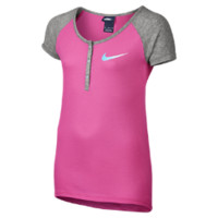 Nike Short-Sleeve Henley Girls' Top Size Large (Pink)