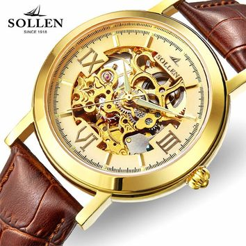 Brand Stainless Steel Skeleton Men Watch Women Dress Wristwatch leather strap automatic mechanical Hollow Military Army Watches