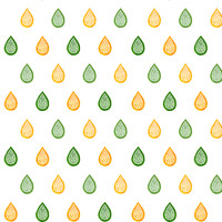 Green and yellow raindrops fabric - savousepate - Spoonflower