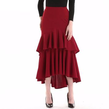 Ladies Ruffles Cake Irregular Skirt Wine Red Color High Waist Female Elegant Party Wear Bottoms Saias Swallowtail Clothing