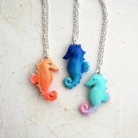 Seahorse Necklace, Polymer Clay Ombre Hippocampus pendant, Pick your color