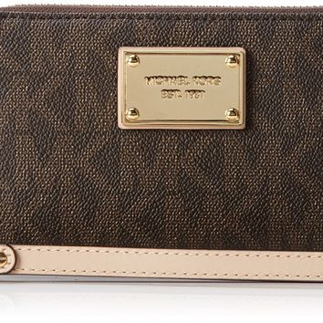 Michael Kors Jet Set Item Signature Phone Case Wristlet (Brown) 32T5GTTE2B