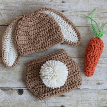 Crochet Bunny Hat and Diaper Cover Carrot Set  Floppy Eared Easter Bunny Hat Crochet Hat Baby Girl Baby Boy Bunny Beanie
