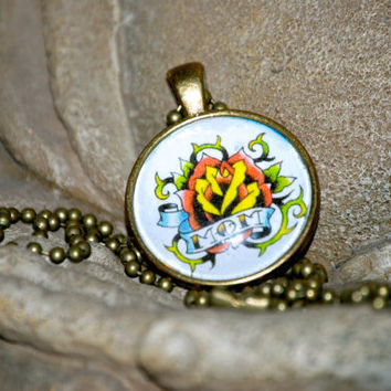 Mom Old School Tattoo Pendant by YssormDesigns on Etsy