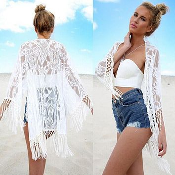 New Fashion Sexy Kimono Cardigan Women Hollow Lace Loose Tops White black  Casual Long Sleeve Tassel 2016 Hot Blouse