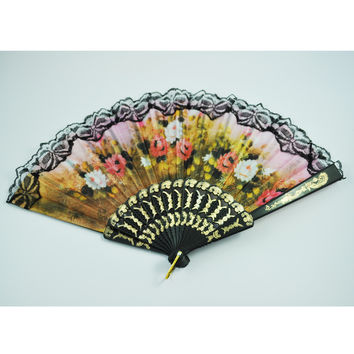 Bestselling Spanish Flower Floral Fabric Lace Folding Hand Fan Dancing Wedding Party Decor