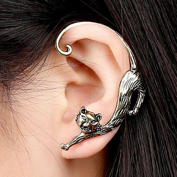 1 Pair Gold Plated Gothic Cat Cuff Stud Earrings 3 Tones