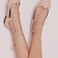 Missguided - Scallop Edge Lace Up Flats Blush