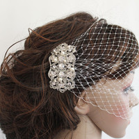 wedding fascinator,bridal Swarovski Pearls Comb,Wedding comb,bridal headpieces,rhinestone bridal Hair comb,birdcage veil and a bridal comb