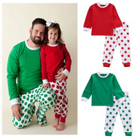 Christmas Kids Baby Boy Girl Clothes Set Dot Homewear Sleepwear Nightwear Pajamas Set Xmas Clothing 1-7T