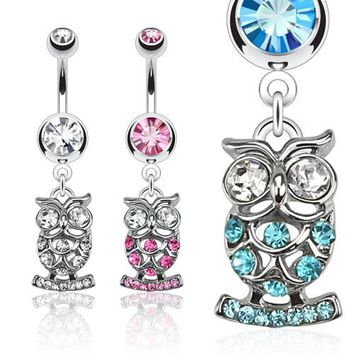 Owl CZ Dangle Belly Ring