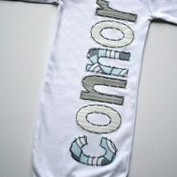 Hand Appliqued Personalized Infant Baby Boy Gown in Light  Blue Pale Blue Gray