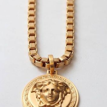 Indie Designs Versace Inspired 18K Gold Medusa Necklace