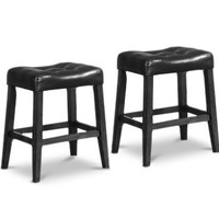 "2 24"" Saddle Back Black Kitchen Counter Wooden Bar Stools"