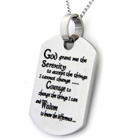 Serenity Prayer Dog Tag Pendant Stainless Steel Necklace