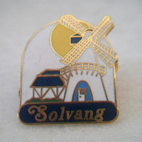 Solvang California Souvenir Pin Windmill Enamel Jewelry Gold Tone Accessories