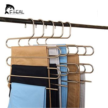 FHEAL 5 Tier Stainless Steel S Type Pants Hangers Multifunction Trouser Tie Scarfs Belt Towel Non-slip Magic Hanger Storage Rack