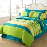 Chezmoi Collection 8-Piece Soft Blue Green Yellow Striped Bed in a Bag Comforter with Sheet Set Queen