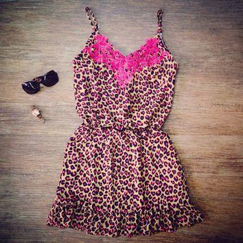 Pink Leopard Printed Lace Embroidered Chest Spaghetti Strap Romper