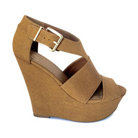 Top Shelf Buckle Wedges In Cognac Brown