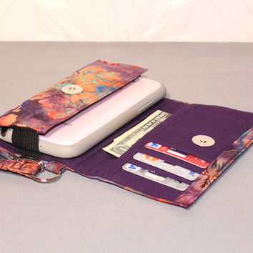 Cell Phone Wallet Wristlet for your Smart Phone / iPhone 4/5/6 / Android / Moto X / NEW STYLE TECH  / Plum Peach Leaf Batik