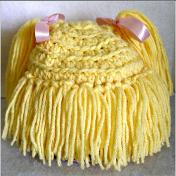 Cabbage Patch Doll Hat with Pigtails and Bangs! Full customizable! Any size, any color hair or ribbon!