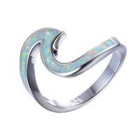 White Fire Opal Sterling Silver Wave Rings