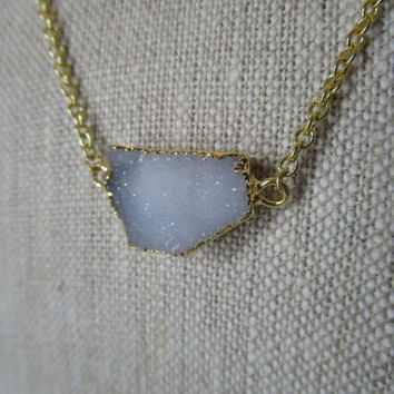 White Druzy Necklace - Gold Chain