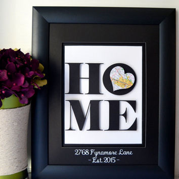 Unique Housewarming Gift - New Home Address Art - New Home Gift - Map Art - Anniversary Gift - 3D Art - New House Personalized Art
