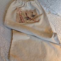 Vintage canvas cream drawstring laundry bag/ up cycled laundry bags/ vintage sacks