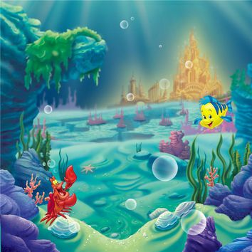 Princess Little Mermaid Birthday Party Photo Booth Backdrop Castle Under the Sea Corals Baby Girl Cartoon Photography Background