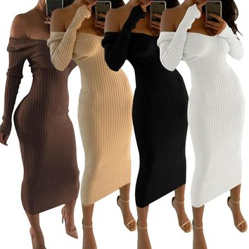 Sexy Womens Midi Dress Ladies Knitting Long Sleeve Off Shoulder Sweater Jumper