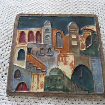 Ruth Faktor Ceramic Relief Tile Israeli Cityscape Arts and Crafts Wall Hanging Kitchen Tile  - FL