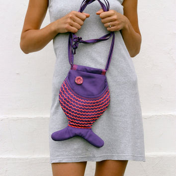 ON SALE Fish Bag Purse, Bright Purple, Neon Pink, Geek, Whimsical, Hipster, Cross Body Bag, Indie Fashion, Festival, Psychedelic, Fun Bag