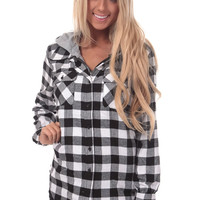 Black and White Plaid Flannel Jacket