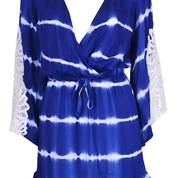 Tie-Dye Long Sleeve Romper Dress - Blue & White