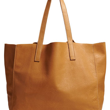 CLOVER LEATHER TOTE-tan-one