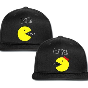 mr mrs pacman couple matching snapback cap