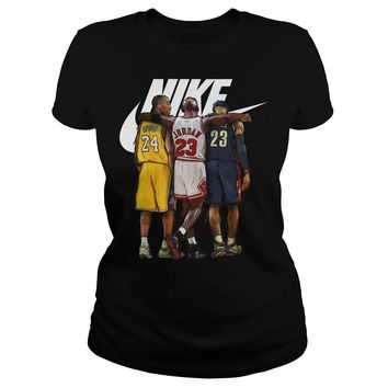Nike Michael Jordan Hugging Kobe Bryant And Lebron James shirt Ladies Tee