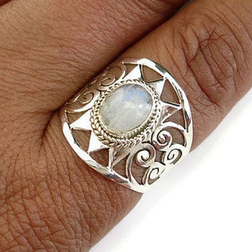 Moonstone Spiral Filigree Wide Ring, Moonstone Ring, Statement Ring, Birthstone Ring, Long Ring, Boho Rings, Gemstone Ring, Mistry Gems, R2M