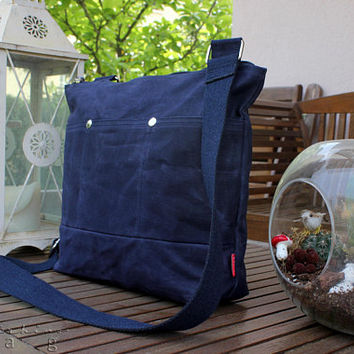 Waxed Tote Bag, Navy Blue, Long Cotton Strap, Shoulder or Crossbody Bag, Fully Lined, Pocket Bag, Zipper Closure, Silver Metal Accessories