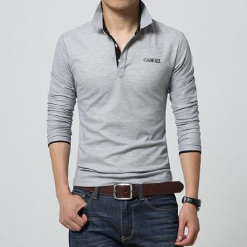 Fashion Long Sleeve Men's Polo Shirt High Quality Solid Cotton Polo Mens Shirt Casual Slim Fit Polo Tops Tees
