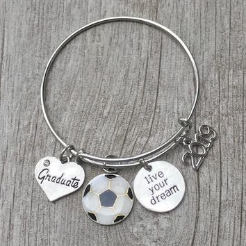 Personalized Soccer Graduation Bangle Bracelet With Letter Charm-Graduation Gift, Perfect Gift for Graduates, 2019 Edition
