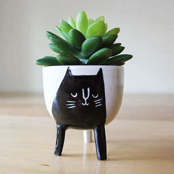 Small Three-legged Planter with Black Cat on White- planter on stilts / legs - cute animal succulent / seedling pot